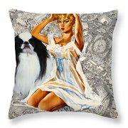 Japanese Chin Art - Una Parisienne Movie Poster Throw Pillow by Sandra Sij