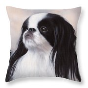 Japanese Chin Painting Throw Pillow