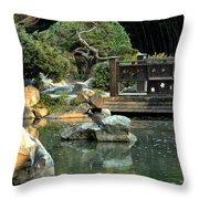 Japanese Garden At Sundown Throw Pillow