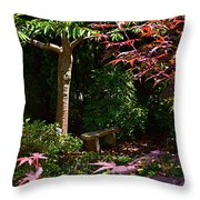 Japanese Garden Bench Throw Pillow