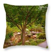 Japanese Garden Bridge Throw Pillow