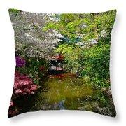 Japanese Garden In Bloom Throw Pillow