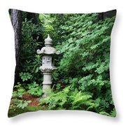 Japanese Garden Lantern Throw Pillow