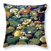 Japanese Garden Pool Rocks Throw Pillow