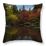 Japanese Garden Reflection Throw Pillow