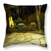 Japanese Garden Simple Shrine Lit At Night 01 Throw Pillow