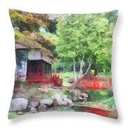 Japanese Garden With Red Bridge Throw Pillow