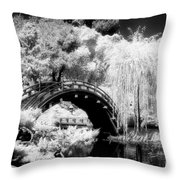 Japanese Gardens And Bridge Throw Pillow