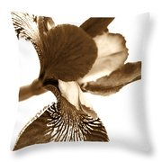 Japanese Iris Flower Sepia Brown Throw Pillow