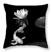 Japanese Koi Fish And Water Lily Flower Black And White Throw Pillow