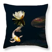 Japanese Koi Fish And Water Lily Flower Throw Pillow