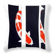 Japanese Koi Kohaku Division Painting Throw Pillow