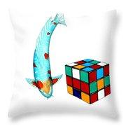 Japanese Koi Ochiba Cubism Painting Throw Pillow