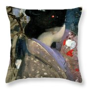 Japanese Lady With A Fan Throw Pillow
