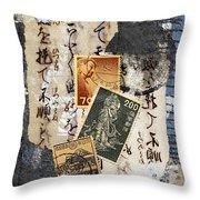 Japanese Postage Three Throw Pillow by Carol Leigh