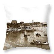 Japanese Tea Garden Glass Bottom Boats At Lovers Point Pacific Grove California Circa 1907 Throw Pillow