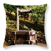 Japanese Tea Garden Well Throw Pillow