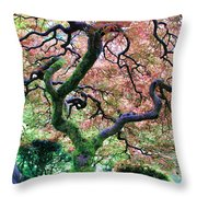 Japanese Tree In Garden Throw Pillow
