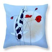 Japanese Utsuri Mono Poppy Moon Throw Pillow