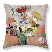 Japanese Vase With Roses And Anemones Throw Pillow