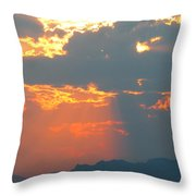 Japanese Zero Fighter Plane Taking Off At Sunset Throw Pillow
