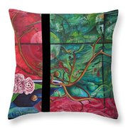Japanesse Flower Arrangment Throw Pillow