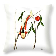 Japnese Koi Shuisui Chinese Lantern Painting Throw Pillow