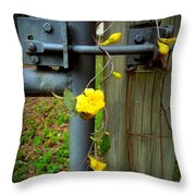 Jasmine Flowers On Gate Latch Throw Pillow