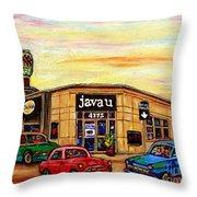 Java U Cafe Jean Talon Car Wash Coffee Shop Depanneur Montreal Art Sale Cspandau                     Throw Pillow
