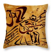 Jazz Abstract Coffee Painting Throw Pillow