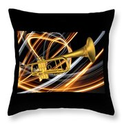 Jazz Art Trumpet Throw Pillow