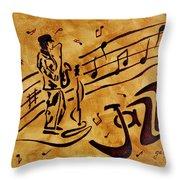 Jazz Coffee Painting Throw Pillow