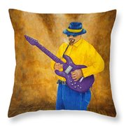 Jazz Guitar Man Throw Pillow
