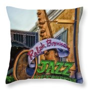 Jazz Kitchen Signage Downtown Disneyland Throw Pillow