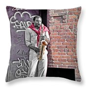 Jazz Man - Street Performer Throw Pillow