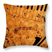 Jazz Music Coffee Painting Throw Pillow