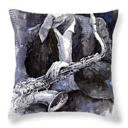 Jazz Saxophonist John Coltrane Black Throw Pillow