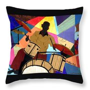 Jazzy Drummer Throw Pillow