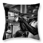 Jazzy Trombone Music-bw Throw Pillow