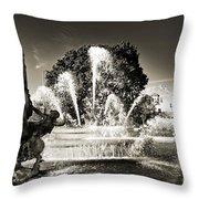Jc Nichols Memorial Fountain Bw 1 Throw Pillow