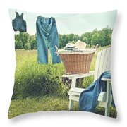 Jeans Hanging On Clothesline On A Summer Afternoon Throw Pillow