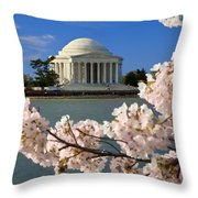 Jefferson Memorial Cherry Trees Throw Pillow