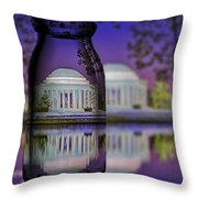 Jefferson Memorial In A Bottle Throw Pillow by Susan Candelario
