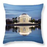 Washington Dc Jefferson Memorial In Blue Hour Throw Pillow