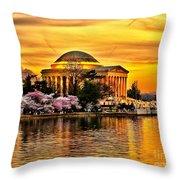 Jefferson Memorial Sunset Throw Pillow