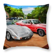 Jeffs Cars Corvette And 442 Olds Throw Pillow