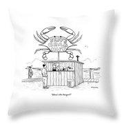 Jeff's Crab Hut Throw Pillow