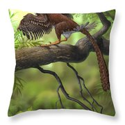 Jeholornis Prima Perched On A Tree Throw Pillow by Sergey Krasovskiy