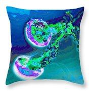 Jelly Fish Pop Art Blue Throw Pillow