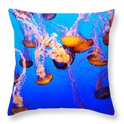 Jellyfish In Abundance Throw Pillow